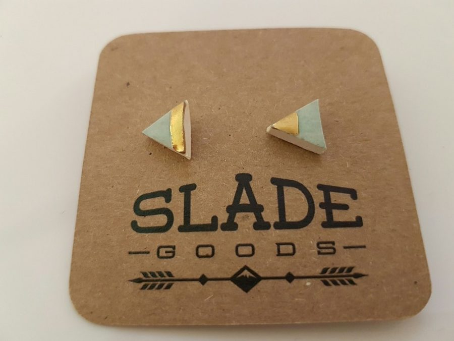 925 Sterling Silver - 22K Studs - Title : Gold Trim earrings