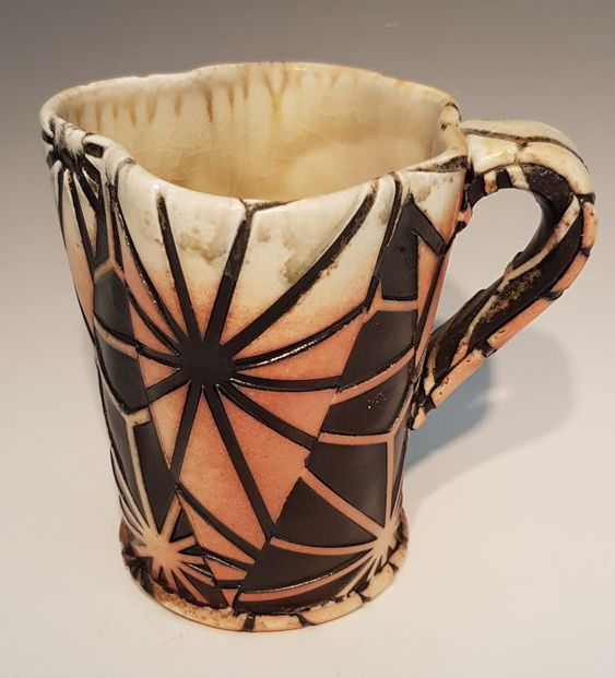 Asanoha Cup with Handle - Material: Wood-Fired Porcelain