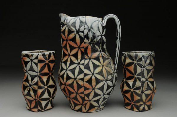 Flower of Life Pitcher with Cups - Material: Wood-fired Porcelain