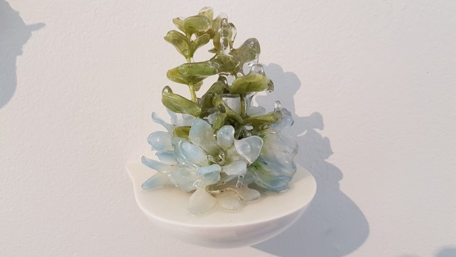Floral Sculpture (Flower Wall Piece) No.9 - Reminiscent of spring flowers frozen in a snowstorm