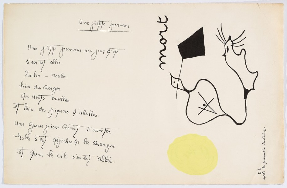 """Il était une petite pie"" (Original Drawing) - Sheet III - Drawing by Joan Miró with texts by Lise Hirtz"