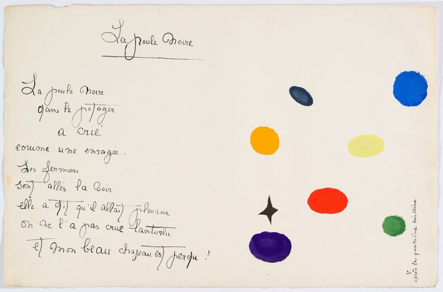 """Il était une petite pie"" (Original Drawing) - Sheet IV - Drawings by Joan Miró with texts by Lise Hirtz"