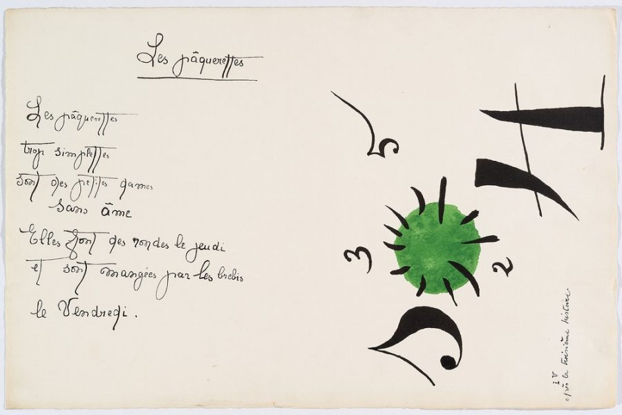 """Il était une petite pie"" (Original Drawing) - Sheet V - Drawing by Joan Miró with texts by Lise Hirtz"