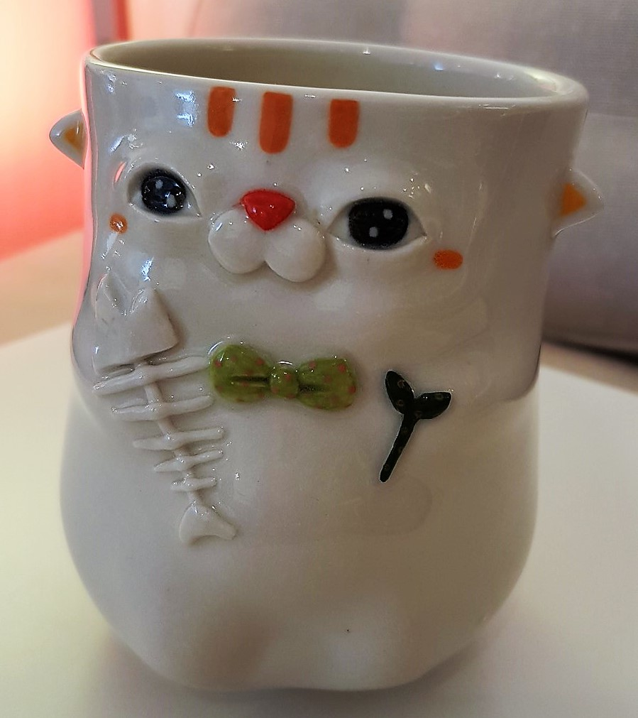 """Cup """"Cat with green Bowtie"""" - Title: Cup """"Cat with green Bowtie"""""""