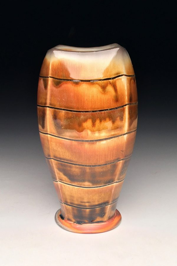 Amber Striped Vase - Title : Amber Striped Vase