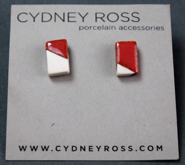 Cream & Rust | Pop-a-Color Studs - Handcrafted in small batches from a cream porcelain