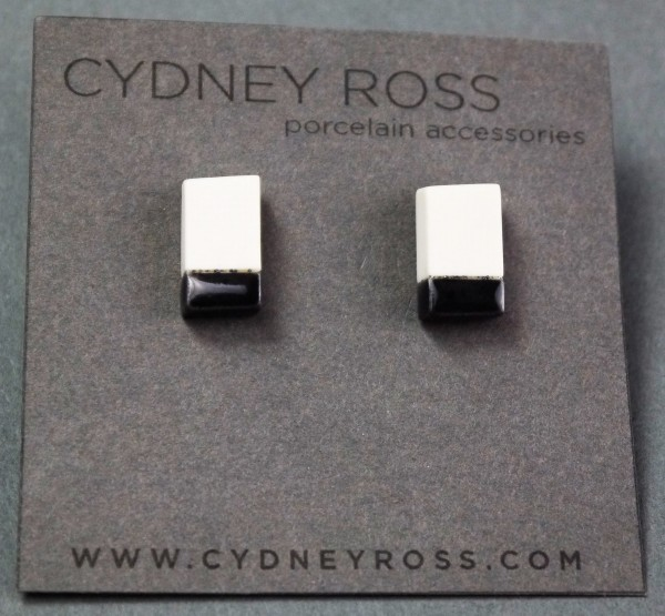 Cream & Black | Pop-a-Color Studs - Handcrafted in small batches from a cream porcelain