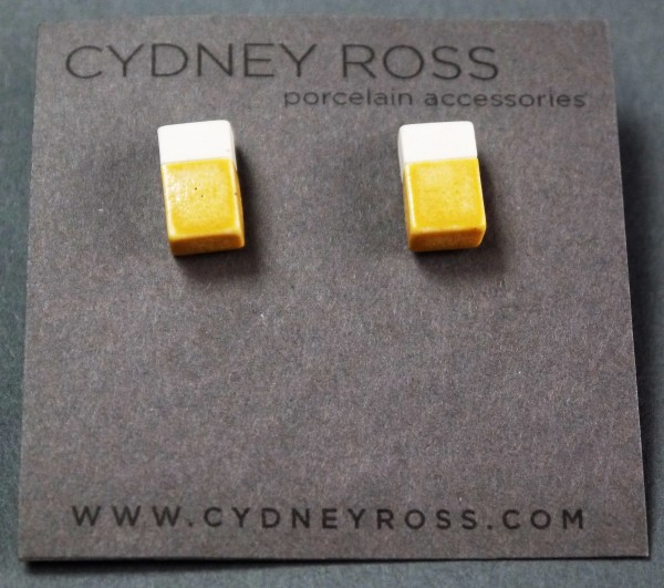Cream & Yellow-Ochre | Pop-a-Color Studs - Handcrafted in small batches from a cream porcelain