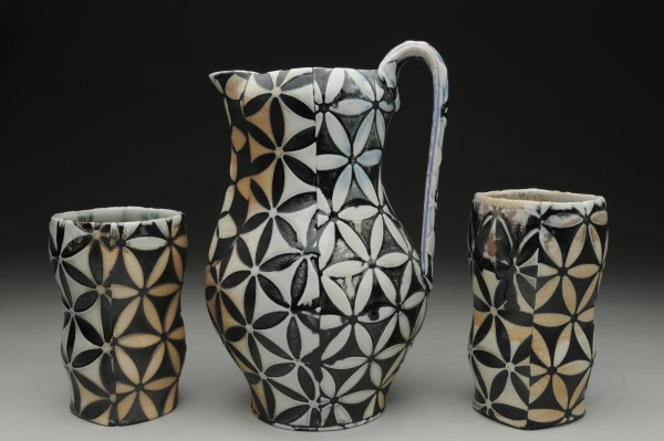 Flower of Life Pitcher with Cups - Title : Flower of Life Pitcher with Cups