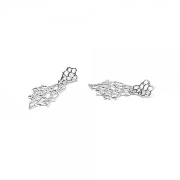 Sea Fan Dangle Earring - Many coral reefs have experienced coral bleaching due to environmental changes brought on by human intervention. These snow-white silver pieces are homage to coral's inability to respond to these changes
