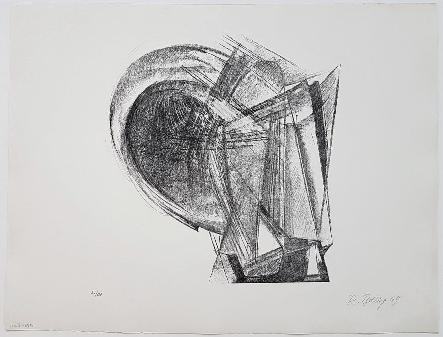 """Design for Sculpture """"Metal Plates and Wire"""" - Rudolf Belling"""