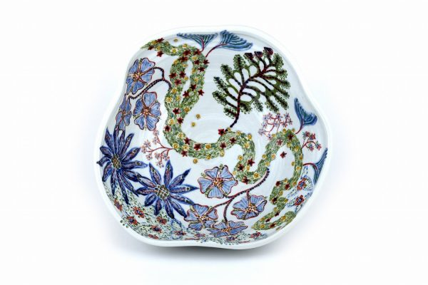 Altered Sgraffito Bowl with Large Blue Flowers - Title : Altered Sgraffito Bowl with Large Blue Flowers