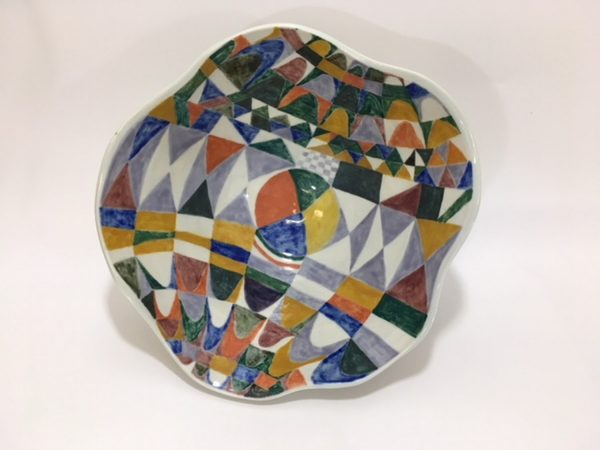 Altered Bowl with Painted Geometric Pattern - Title : Altered Bowl with Painted Geometric Pattern