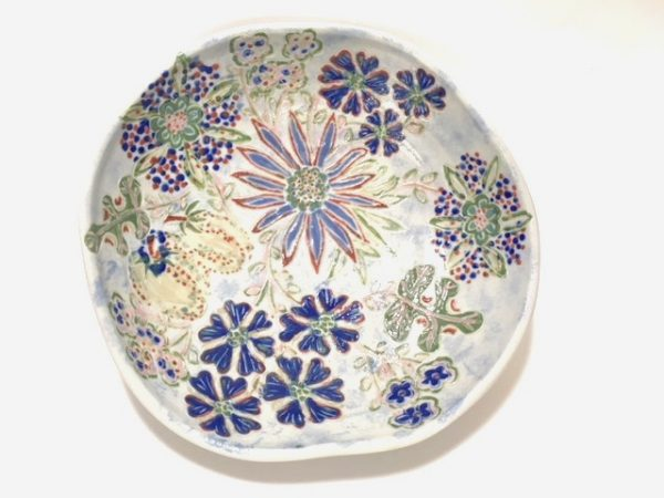 Altered Sgraffito Bowl with Blue Flowers & Squash - Title : Altered Sgraffito Bowl with Blue Flowers & Squash