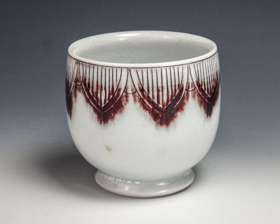 """Sgraffito Red Cup - Size: 3.5"""" x 3.5"""" x 3.5"""" - by Steven Young Lee"""