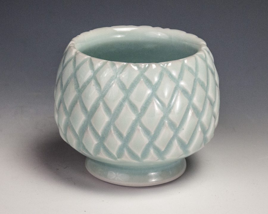 """Carved Blue Cup - Size: 2.75"""" x 3.5"""" x 3.5"""" - by Steven Young Lee"""