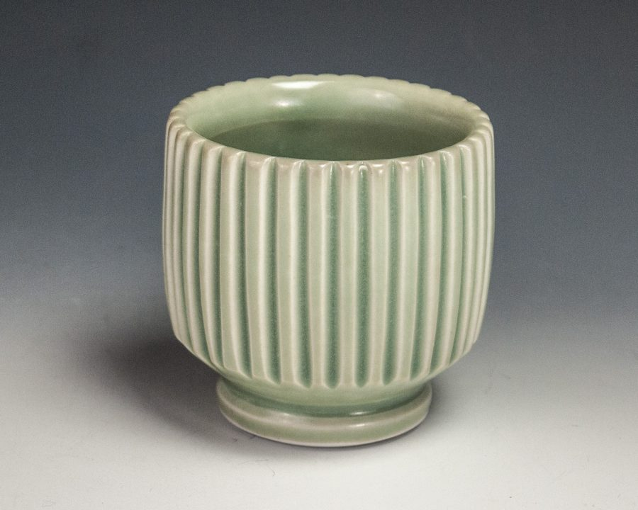 """Carved Green Cup - Size: 3"""" x 3"""" x 3"""" - by Steven Young Lee"""