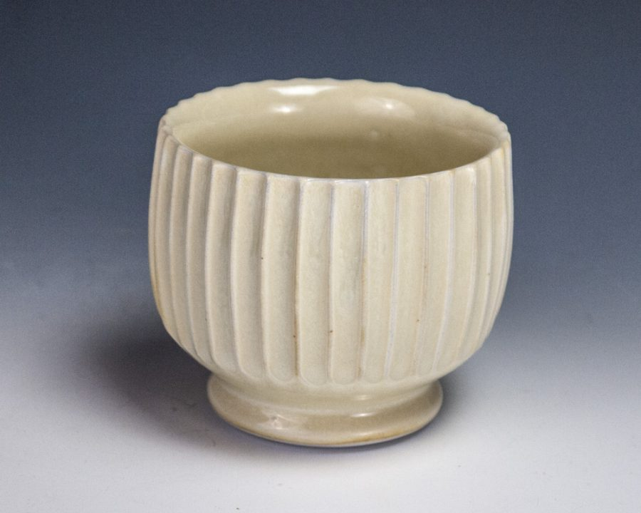 """Carved Yellow Cup - Size: 2.75"""" x 3"""" x 3"""" - by Steven Young Lee"""