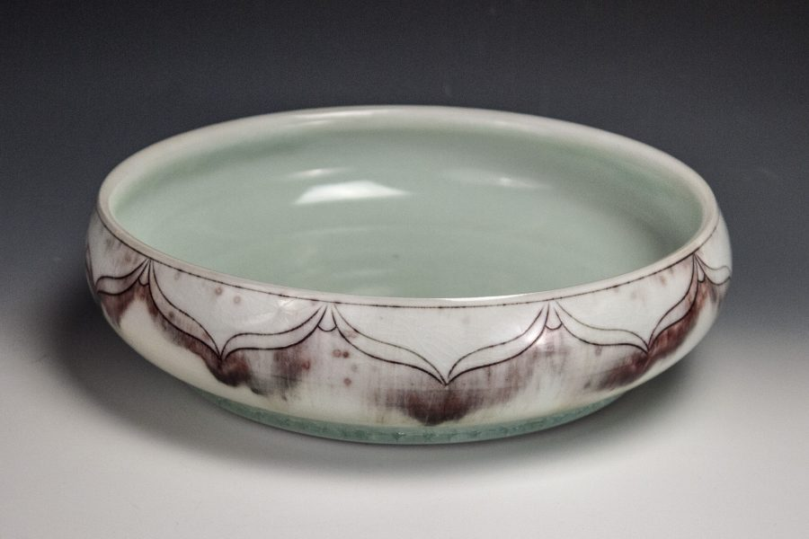 "Red Blush Low Profile Bowl - Size: 1.75"" x 8.5"" x 8.5"" - by Steven Young Lee"