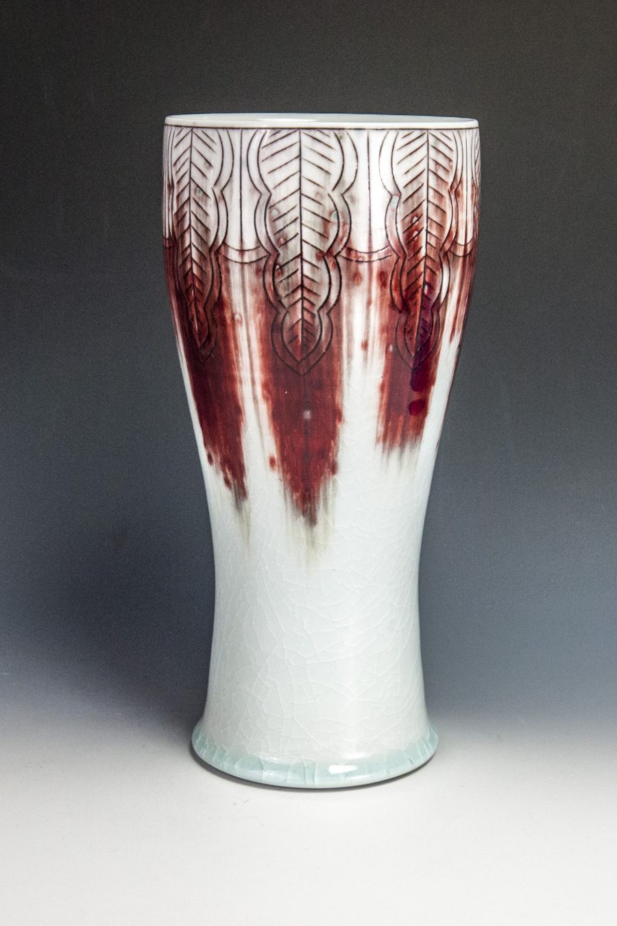 "Red Blush Vase - Size: 9"" x 4.5"" x 4.5"" - by Steven Young Lee"