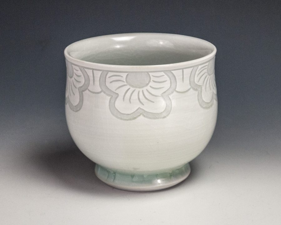 "Sgraffito Flower Cup - Size: 3.25"" x 3.5"" x 3.5"" - by Steven Young Lee"