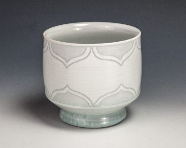 "Sgraffito White Cup - Size: 3"" x 3.25"" x 3.25"" - by Steven Young Lee"