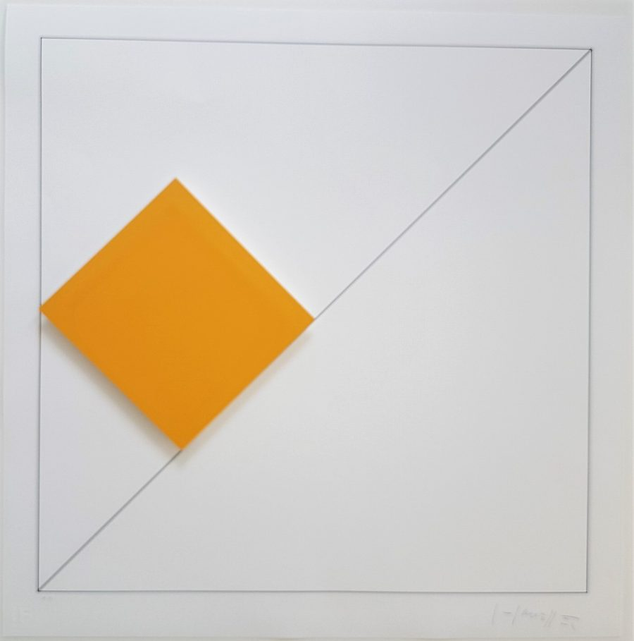 Concrete Geometric Abstract Composition with Orange - Gottfried Honegger (1917-2016