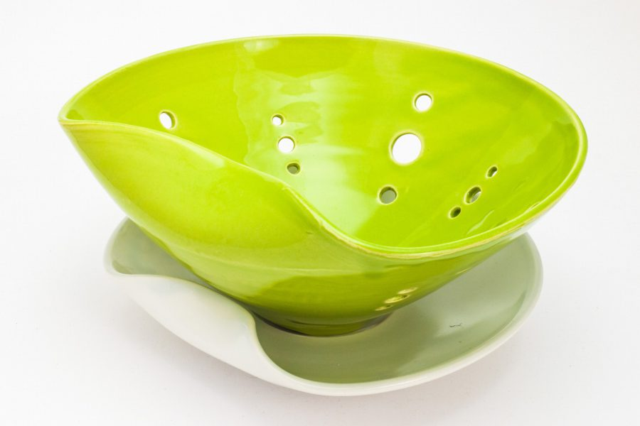 Celadon berry bowl with plate - Theresa Robinson