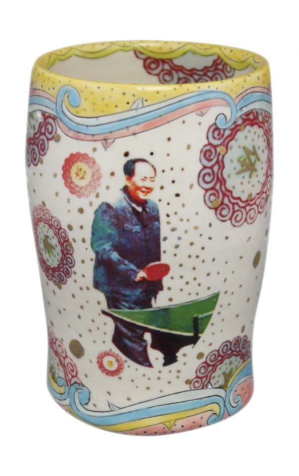 Mao Tse Ping Pong Tumbler (Yellow Rim with Dots) - Cone 6 Clay