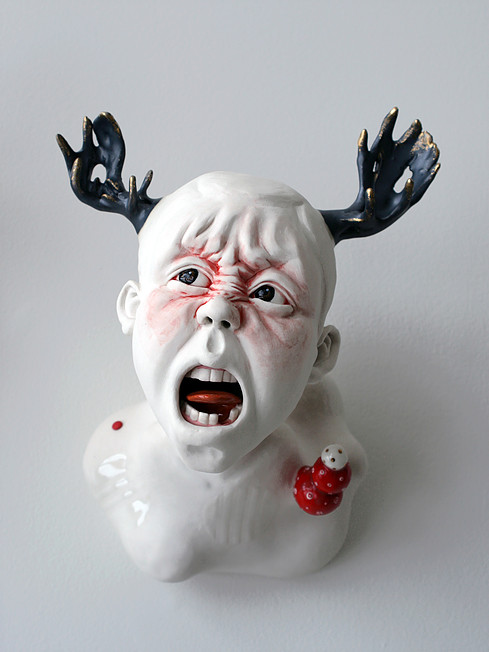 Shinnier (Angry Face) - Materials: Porcelain