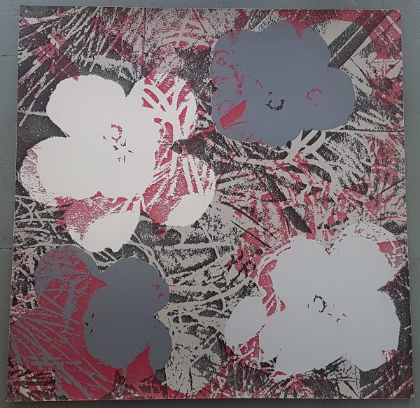 Flowers (Grey and Dark Red Hues - Pop Art) - Jürgen Kuhl