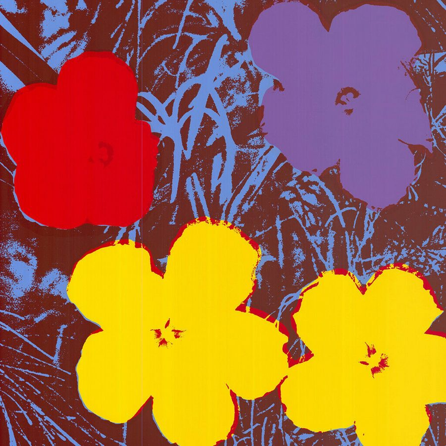 Flowers - Red Yellow Purple Hues - Andy Warhol (after)